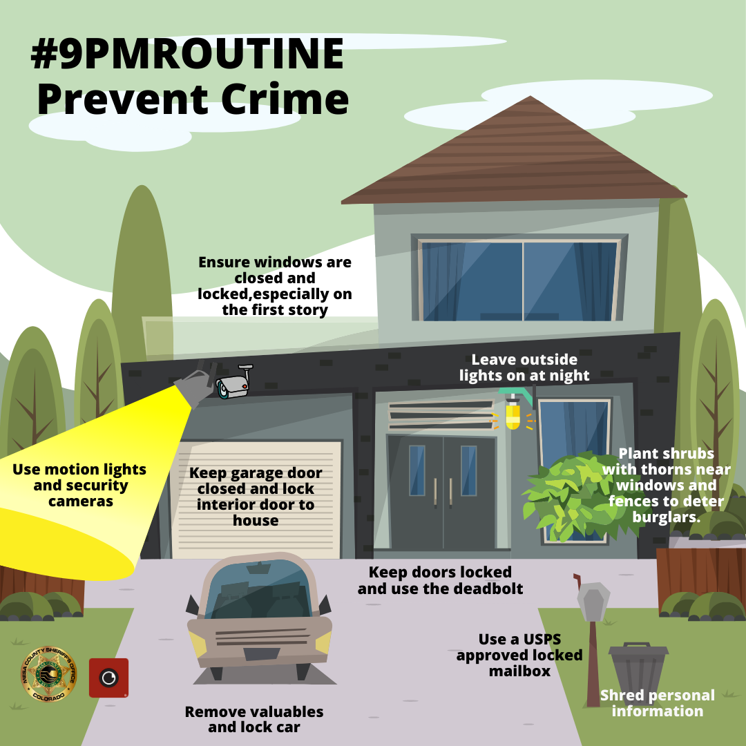 Crime Prevention tips on a drawing of a home and car