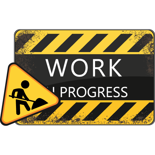 This is an image of a traffic sign and the words Work in Progress.