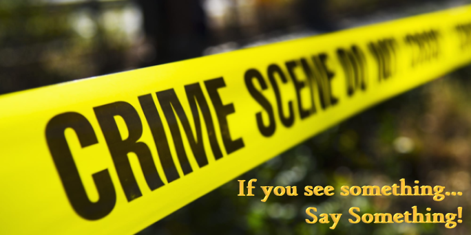 This is an image of crime scene tape with words saying if you see something s.ay something