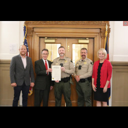 Sheriff Matt Lewis and Detentions Captain Art Smith joined the Mesa County Board of Commissioners
