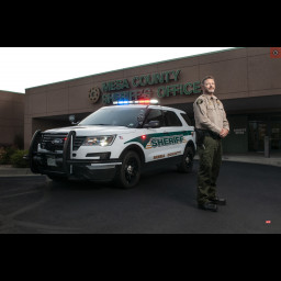 Sheriff Matt Lewis stands in front of the Mesa County Sheriff's Office