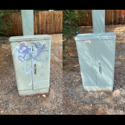 graffiti removed from utility box