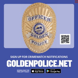 This is an image of the Golden Police Department badge and CRIMEWATCH information.