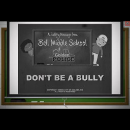 This is an image of the start of the video and says don't be a bully.