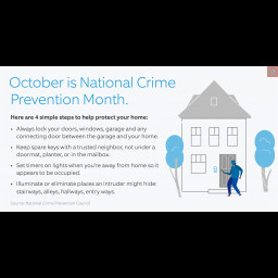 This is an image of a house and crime prevention tips.