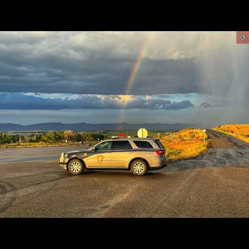 CSP patrol car with a rainbow