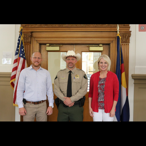 Mesa County Commissioners appointed Undersheriff Todd Rowell to serve as the new Mesa County Sheriff effective at 5 p.m. on August 6. From left to right: Commissioner Cody Davis, Undersheriff Todd Rowell and Commissioner Janet Rowland.
