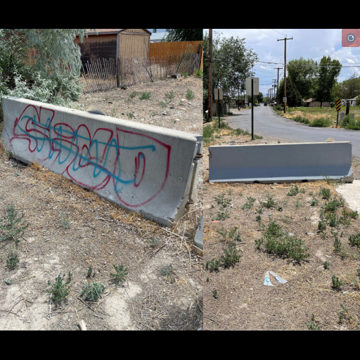 Graffiti removed from jersey barriers