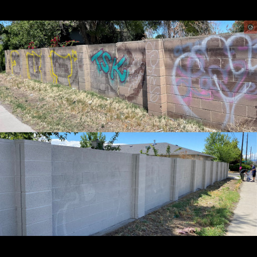 Graffiti removed from wall