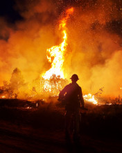 Photo of a wildland firefighter silhouetted by the Pine Gulch Wildfire