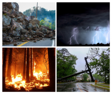 photo of a fire, rock slide, flood and storm