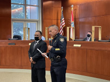 Captain Williams being introduced by Chief Umberger